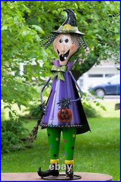 5 Foot Tall Metal Witch with Broom Stick Halloween Figurine Decoration