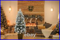5ft Flocked Porch Christmas Tree Pre-Lit LEDs Office Home Xmas Party Decorations