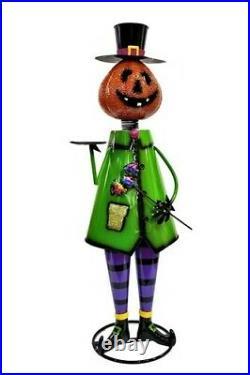 5ft Tall Metal Pumpkin Head with Tray Halloween Nutcracker Figurine Decoration