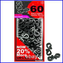 60 x Gutter Hooks Clips Outdoor Christmas Xmas Icicle Fairy Lights Plastic Black