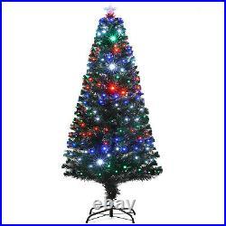 6FT Pre-Lit Fiber Optic Artificial Christmas Tree Colorful LED Lights Decoration