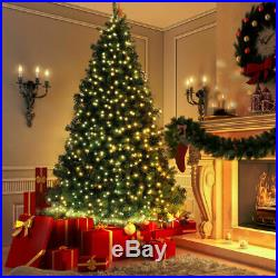 6.5Ft Pre-lit Artificial Christmas Tree PE&PVC Hinged with 650 Warm Lights Green
