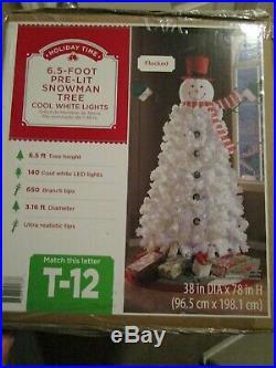 6.5 Foot Pre-lit Snowman Tree Cool White Led Lights Nib