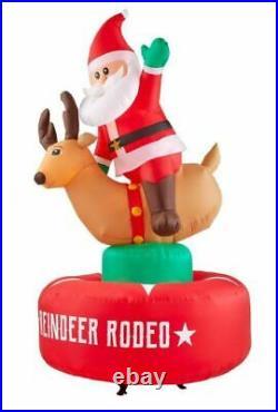 6.5 Ft. Animated Inflatable Santa & Reindeer Rodeo Scene Holiday Christmas Decor
