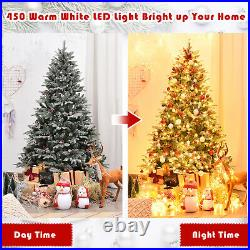6.5 Ft Pre-lit Snow Flocked Christmas Tree Artificial with450 Lights & Pine Cones