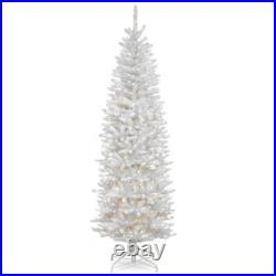 6.5 ft. Kingswood white fir pencil artificial christmas tree with clear lig