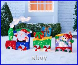 6 FT CHRISTMAS LIGHTED TINSEL SANTA TRAIN With CANDY CANE WHEELS YARD DECOR