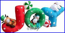 6-Foot Inflatable JOY Christmas Inflatable / W Reindeer, Penguin & Polar Bear