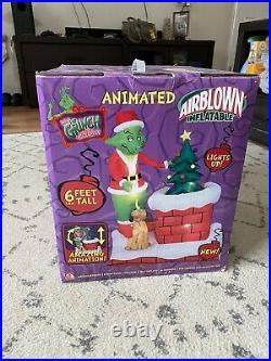 6' Gemmy Animated Airblown Grinch Pulling Xmas Tree Chimney 2007 Yard Inflatable