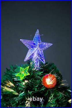 6ft/180cm LED Fibre Optic Christmas Tree Pre-Lit Stars Baubles Decoration Lights