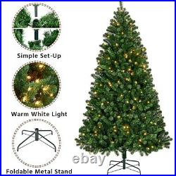 6ft/7.5ft/9ft Pre-Lit Artificial Christmas Pine Tree Xmas Tree with lights