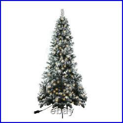 6ft Christmas Tree Artificial Pencil Pre-Lit Snow Flocked XMAS Décor 250 LED