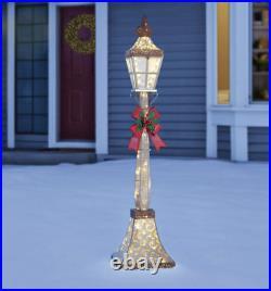 6ft Glitter Gold Festive Street Lamp Post 120 LED Lights Christmas Decoration