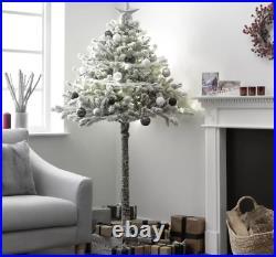 6ft Half Christmas Xmas Tree Snowy Green Snow Flocked Realistic Look Parasol