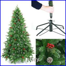6ft Pre Decorated Artificial Christmas Tree With Berries & Pine Cone Home Decor