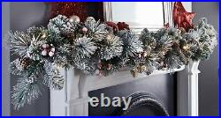 6ft Pre-Lit Copenhagen Snowy Garland With Cone, Berries & 25 Warm White LED Light