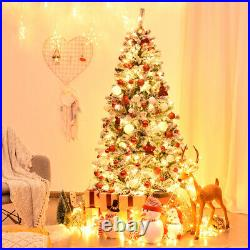 6ft Pre-Lit Premium Snow Flocked Hinged Artificial Christmas Tree with 250 Lights