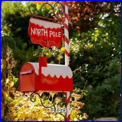 6ft. Tall Red Decorative Candy Cane, North Pole, Santa Christmas Mailbox withSign