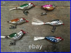 6x Vintage Clip On Birds Christmas Tree Decorations Xmas Woodpeckers Rare Retro