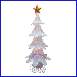 72 LED Lighted Color Changing White Christmas Tree Sculpture Christmas Decor