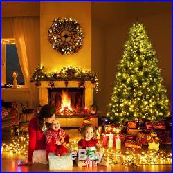 7Ft Pre-Lit Dense PVC Christmas Tree Spruce Hinged with 700 LED Lights & Stand