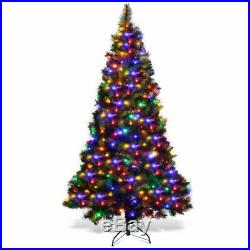 7Ft Pre-Lit PVC Artificial Christmas Tree Hinged with Colorful LED Lights & Stand