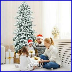 7Ft Snow Flocked Slim Artificial Christmas Fir Tree For Home Party Decoration US