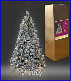 7Ft White Snowy Pre Lit Easy Plug Helsinki Pine Christmas Tree Xmas Lights Up