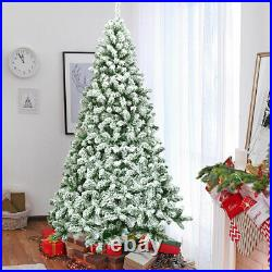 7.5FT Snow Flocked Artificial Christmas Tree Hinged with1346 Tip and Foldable Base
