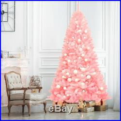 7.5Ft Hinged Artificial Christmas Tree Full Fir Tree New PVC with Metal Stand Pink