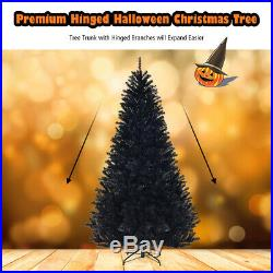 7.5Ft Hinged Artificial Halloween Christmas Tree Full Tree with Metal Stand Black