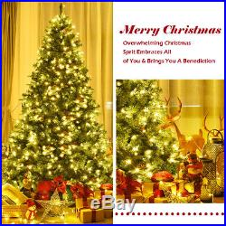 7.5Ft Pre-Lit Artificial Christmas Tree Hinged with 540 LED LightsAnd Pine Cones