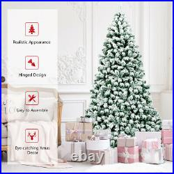 7.5Ft Pre-Lit Premium Snow Flocked Hinged Artificial Christmas Tree with550 Lights