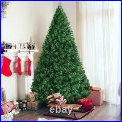 7.5' Pre-lit Snow Flocked Fiber Optic Artificial Christmas Tree LED lights Decor