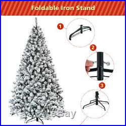 7.5ft Premium Snow Flocked Hinged Artificial Christmas Tree Unlit with Metal Stand