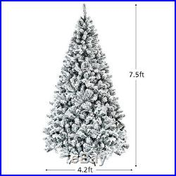 7.5ft Premium Snow Flocked Hinged Artificial Christmas Unlit with Metal Stand