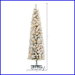7 FT Artificial Christmas Tree Snowy Xmas Flocked Pre Lit Slim 250 White Lights