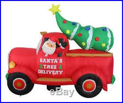 7 Ft Christmas Santa Tree Truck Delivery Inflatable Airblown Yard Decor Lighted