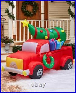 7 Ft Red Pickup Truck with Tree Lighted Christmas Outdoor Airblown Inflatable