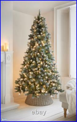 7ft Copenhagen Pre-Lighted 930 Tip Christmas Tree With Snow Berries & Pinecones