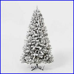7ft Pre-Lit Flocked Douglas Fir Artificial Tree Clear Lights with AutoConnect