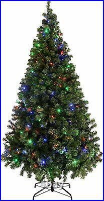 7ft Pre-Lit Spruce Multi-Function Christmas Tree with 300 LED Multi Colour Light