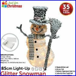 85cm Led Warm White Light Up Glitter Snowman Battery Power Christmas Decoration