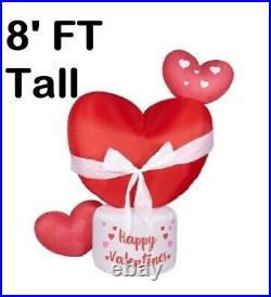 8FT Happy Valentines Day Hearts Pink Red Blown Inflatable LED Lighted Yard Decor
