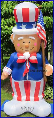 8.5' Ft Patriotic Uncle Sam Airblown Inflatable Lighted Yard Decor