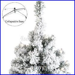 8 Mode 250 LED Light Snow Flocked Artificial Christmas Tree Xmas Party Decor 6FT
