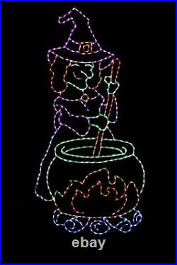 8' Tall Witch's Brew Halloween LED light metal wire frame outdoor yard display