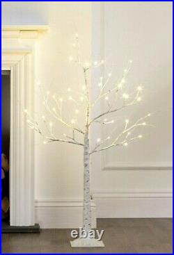 8ft 2.4m Birch Christmas Tree 136 LED White LED Birch Tree Christmas Decoration