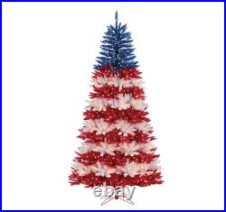 90 Patriotic American Artificial Red/Blue Christmas Tree with Clear White Light