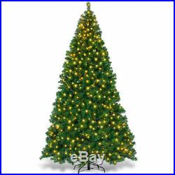 9Ft Pre-Lit PVC Artificial Christmas Tree Hinged with 700 LED Lights & Stand